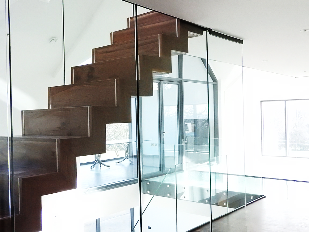 Tinkinswood-Farm-Floating-Feature-Staircase-In-American-Black-Walnut